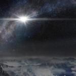 Яркость примерно в 570 млрд раз больше, чем у Солнца